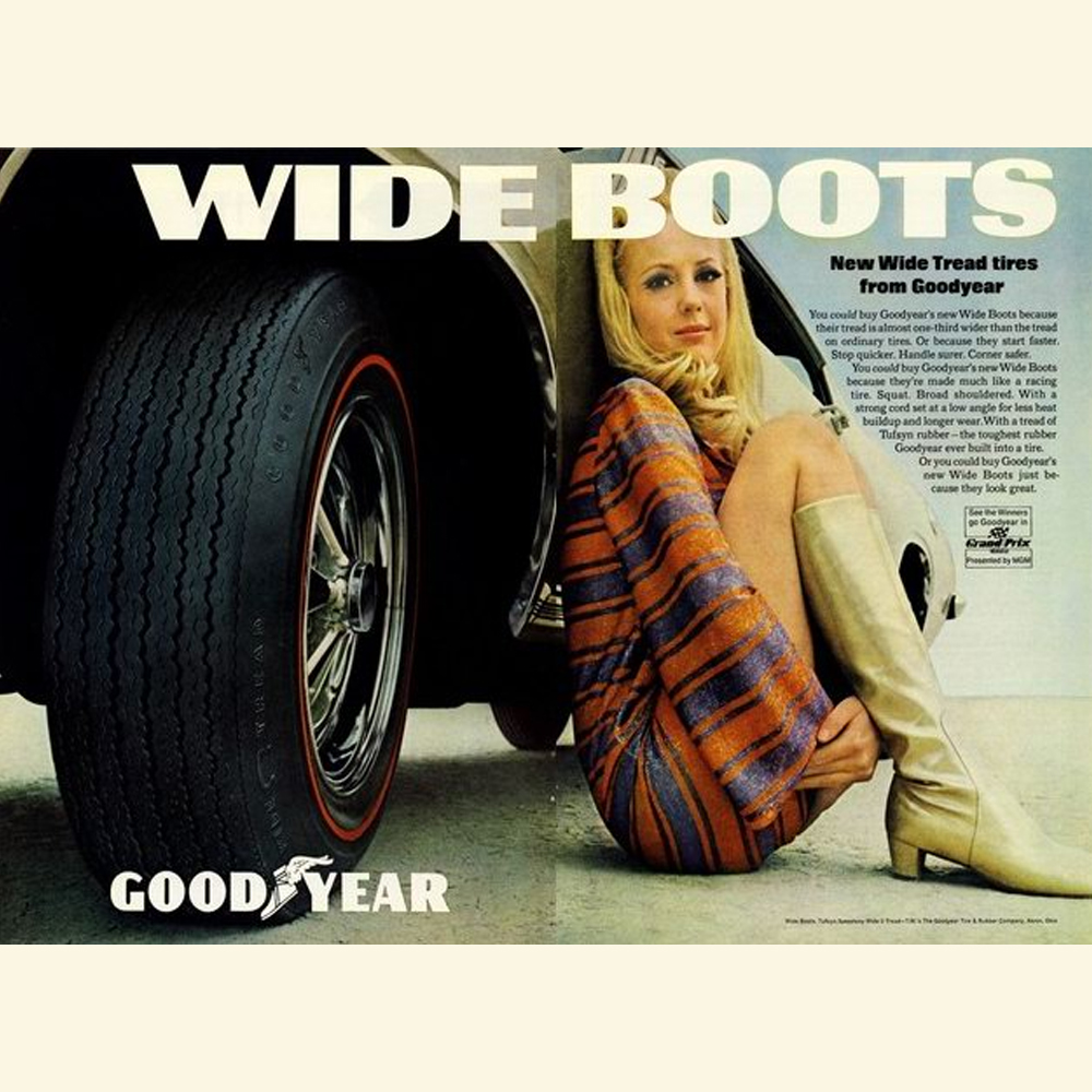 """Goodyear's 1969 Idea of """"Wide"""" Tires Narrows The Eyes"""