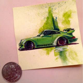 Automotive Designer Sticks out with Post-It Art