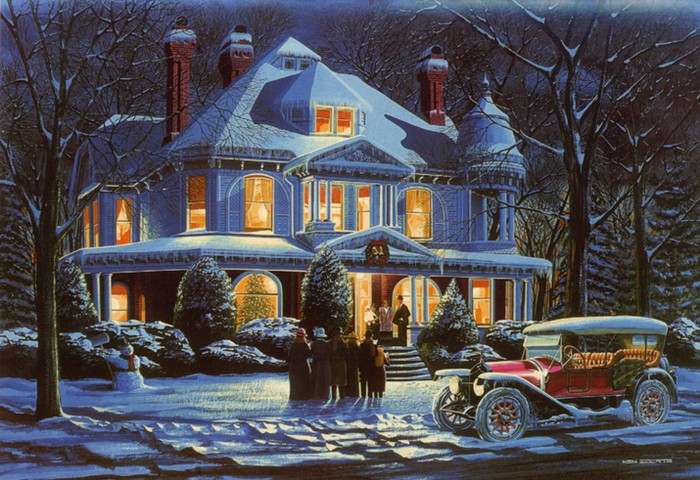 tags automotive designer christmas ford holiday scenes ken eberts painter vintage automobiles