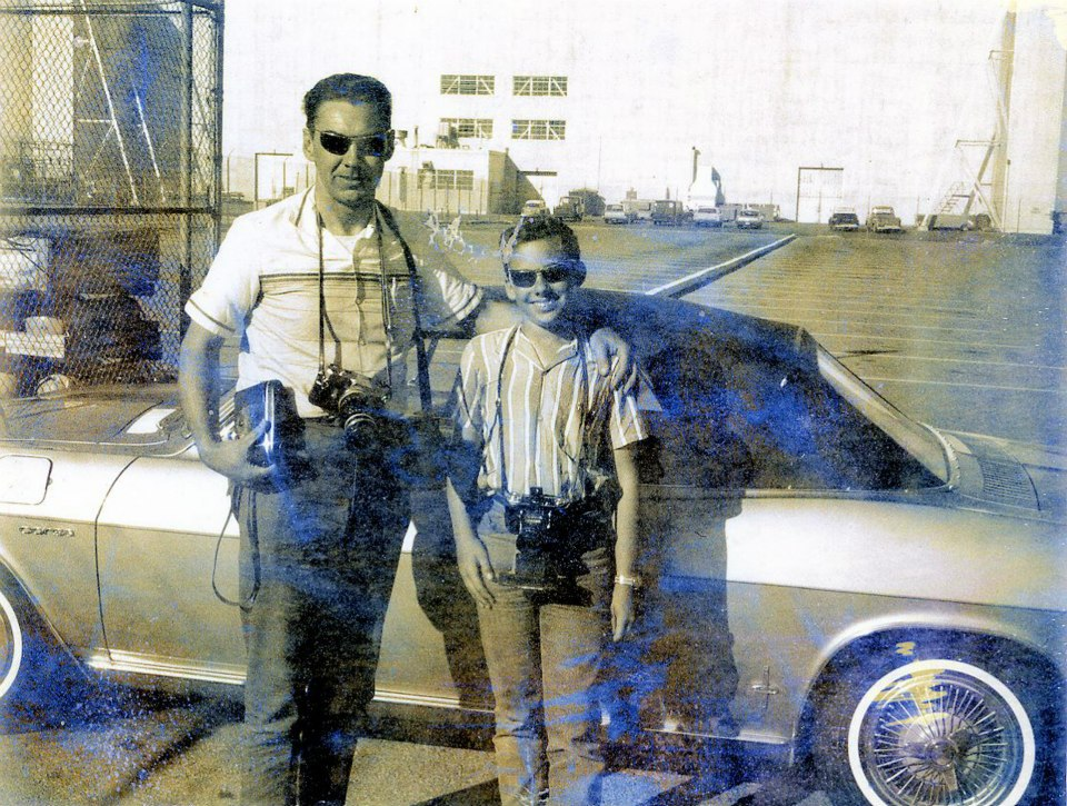 Warren Bodie and son Brad in 1965 with our 1965 Corvair Corsa convertible at Edwards AFB, CA.jpg