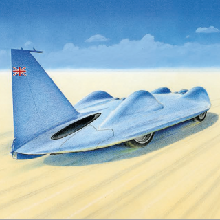 "11 Artists Render Some Of The Most Significant Land Speed Record Cars In The ""Speed"" Collection"