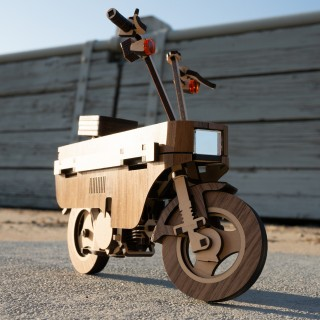 Miss The Honda Motocompo? Here's One Made From Laser-Cut Walnut