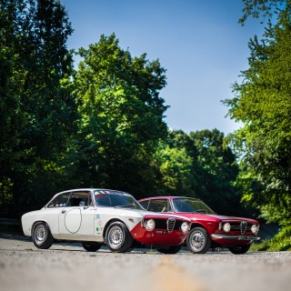 Making A Pilgrimage To The Temple Of Speed With A Pair Of Alfa Romeo Giulia Sprint GTVs